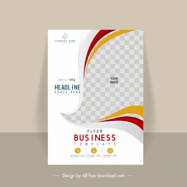 business flyer template bright dynamic checkered curves decor