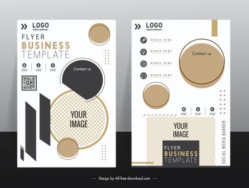 business flyer template bright elegance checkered geometric decor