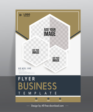 business flyer template checkered geometric polygon decor