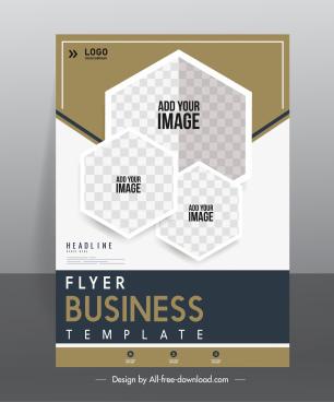 business flyer template checkered geometric polygon decor