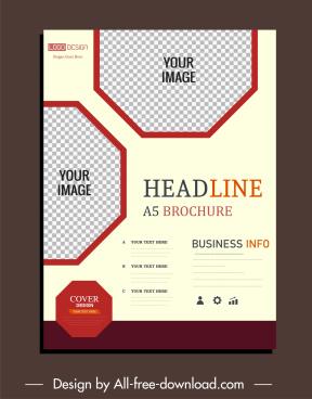 business flyer template checkered polygonal decor