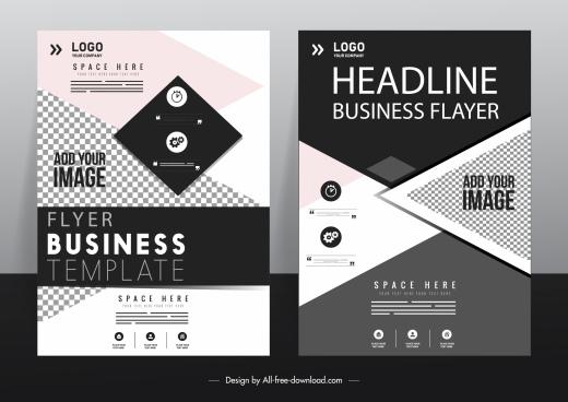 business flyer template dark elegance modern geometric decor