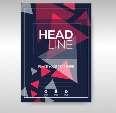 business flyer template dark triangles decoration