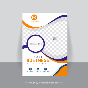 business flyer template elegant bright checkered curves sketch