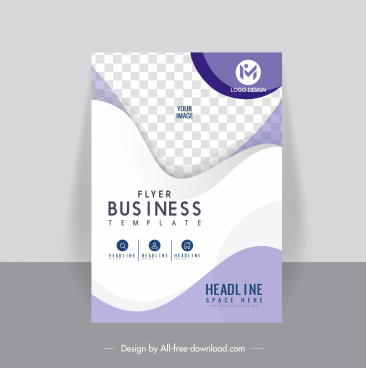 business flyer template elegant bright modern checkered curves