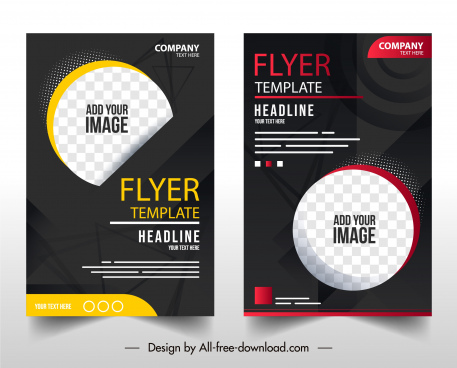business flyer template elegant dark checkered circle decor