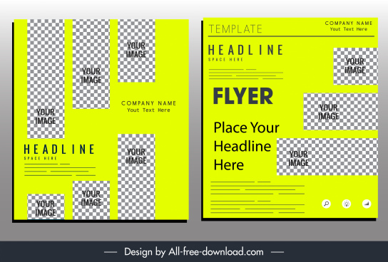 business flyer template green design checkered shapes decor