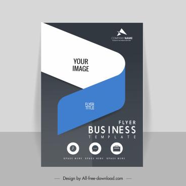 business flyer template modern contrast curves decor