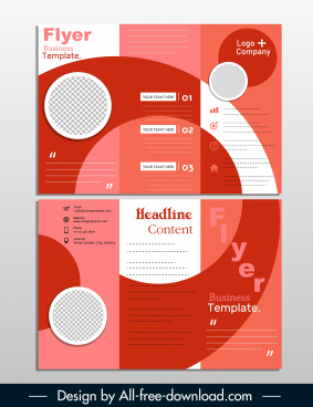 business flyer template trifold shape modern geometric decor