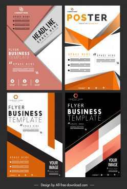 business flyer templates abstract modern technology decor