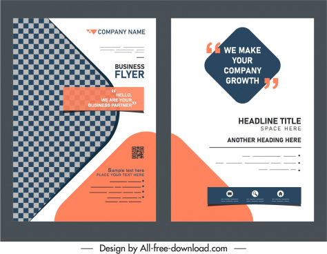 business flyer templates bright elegant simple flat decor