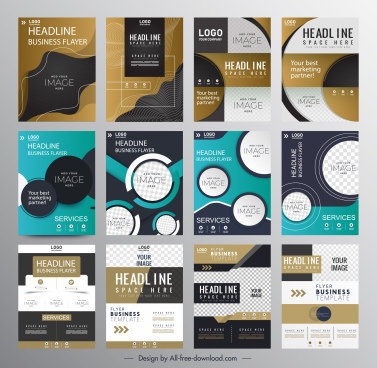 business flyer templates collection modern abstract technology design