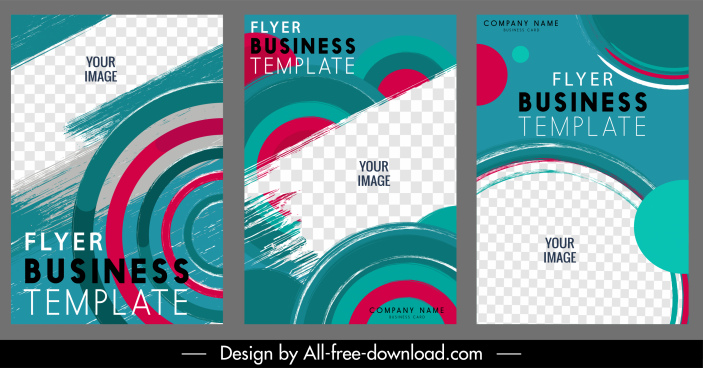 business flyer templates colorful circles checkered decor