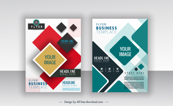 business flyer templates colorful modern flat geometric decor