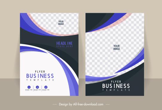 business flyer templates contrast design checkered curves decor