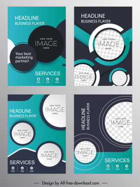 business flyer templates dark modern elegant circles decor
