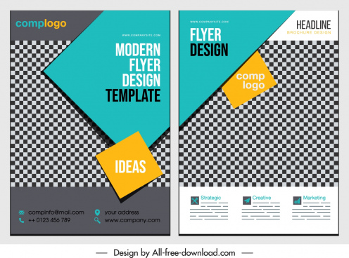 business flyer templates elegant modern checkered geometry decor