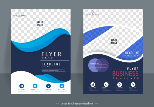 business flyer templates modern checkered swirled decor