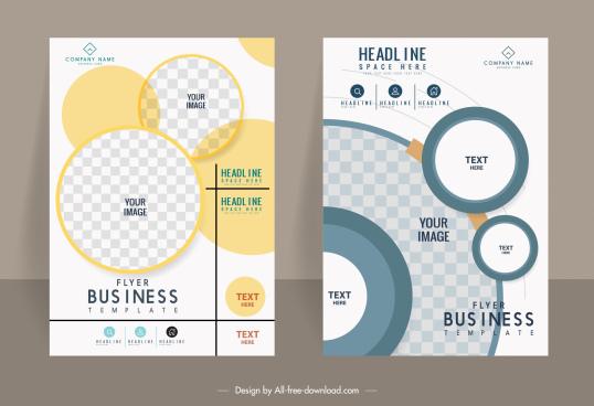 business flyer templates modern circles checkered decor