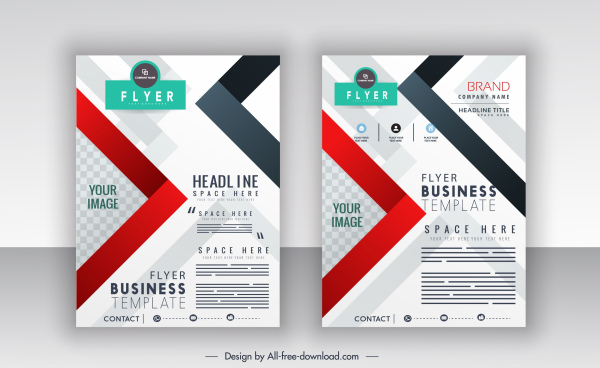 business flyer templates modern colorful flat decor