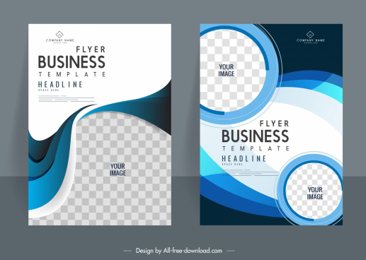 business flyer templates modern elegant checkered curves decor