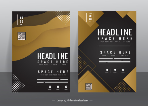 business flyer templates modern elegant dark geometric decor
