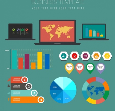 business graph design elements multicolored flat shapes