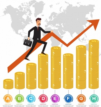 business graph template golden coins businessman arrow decor