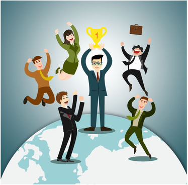 business honor illustration with cheering people and earth