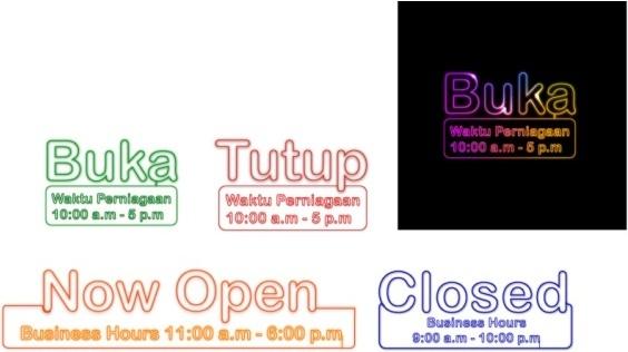 business hours neon billboards vector