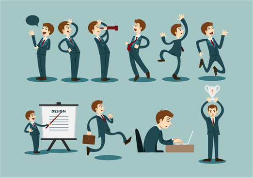 business icons design with businessman gestures illustration