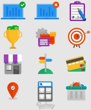 business icons flat style