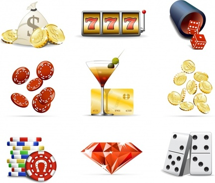 gambling design elements modern colored 3d objects icons