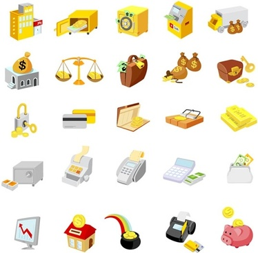finance icons templates colorful 3d symbols sketch