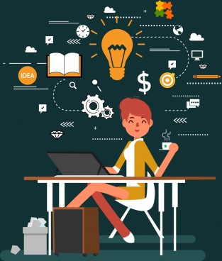 business idea concept background woman lightbulb gears icons