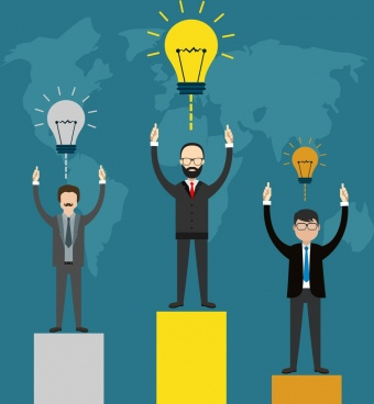business idea concept bulbs and competitive businessmen theme