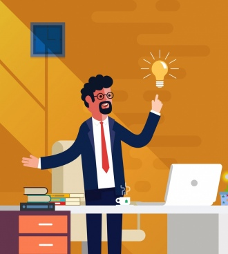 business idea drawing man lightbulb icons colored cartoon
