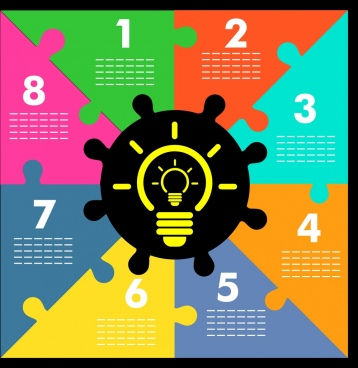 business idea infographic lightbulb icon puzzle joints background