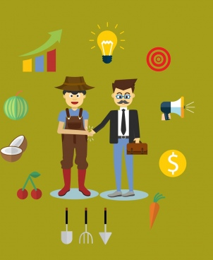 business ideas concept colored human products icons decoration