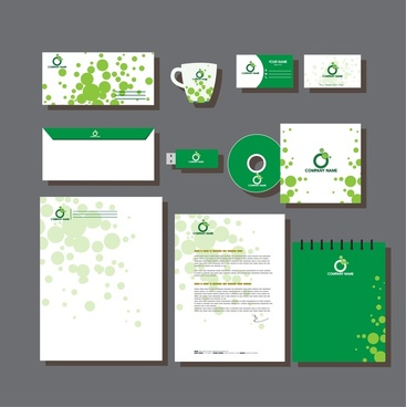 business identity sets bokeh circles in green design