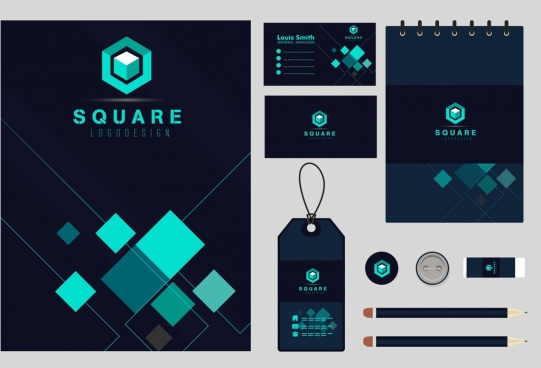 business identity sets dark green squares decor