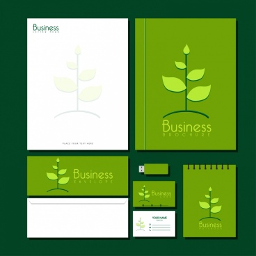 business identity sets green eco design tree icon