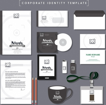 business identity sets grey decor photography logo