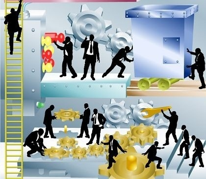 business operation concept businessman activities icons silhouette design