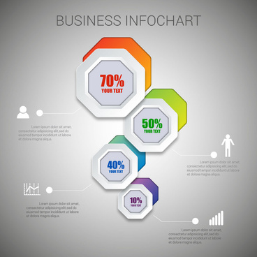 business infochart design with hexagons and percentage
