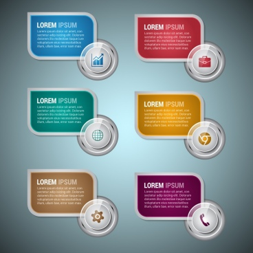 business infographic design elements shiny rounded colorful style
