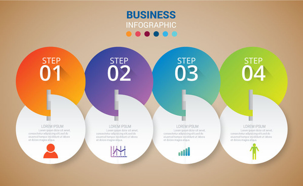 business infographic design with 3d inserted circles