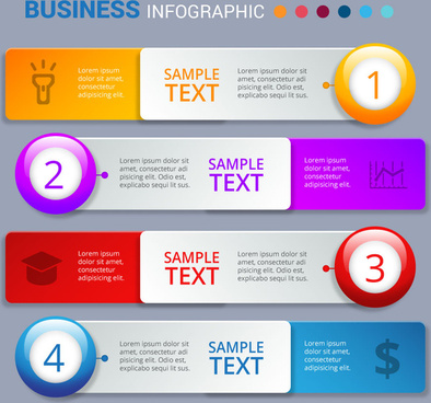 business infographic design with colorful horizontal tabs
