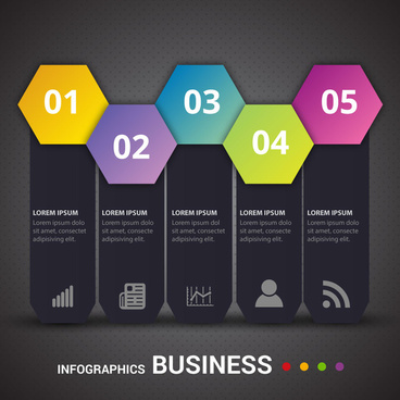business infographic design with contrast colors geometry