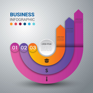 business infographic design with curved arrows